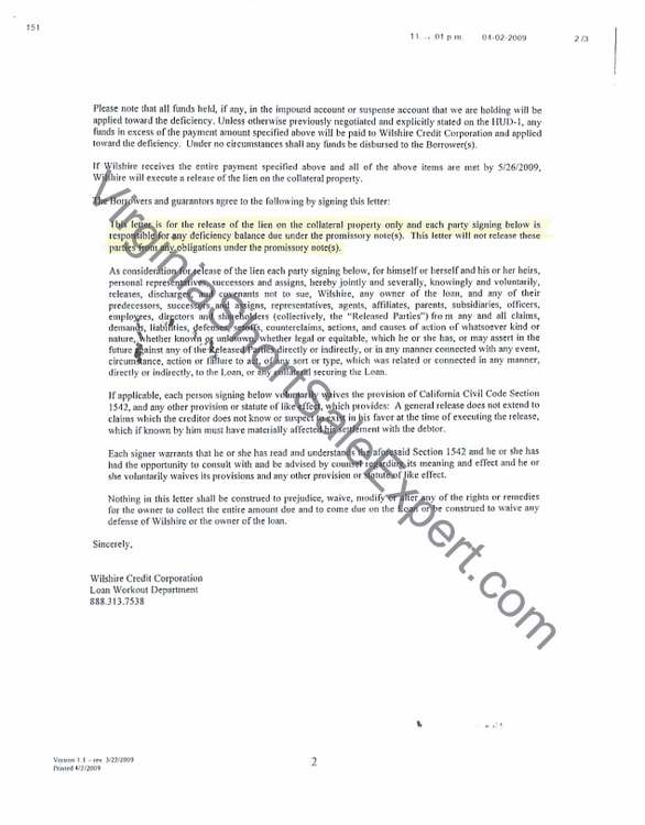 Wilshire Credit Crop Short Sale Approval Letter