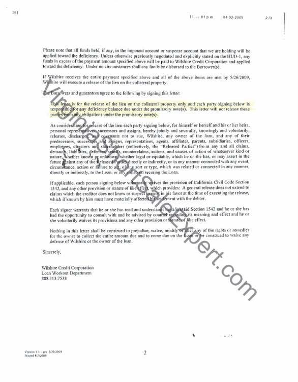Wilshire Credit Crop Short Sale Approval Letter