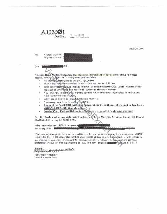 american home mortgage short sale approval letter