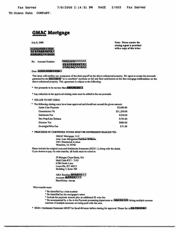 gmac short sale demand approval letter