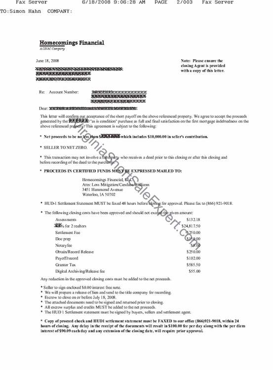 Homecomings GMAC short sale demand approval letter