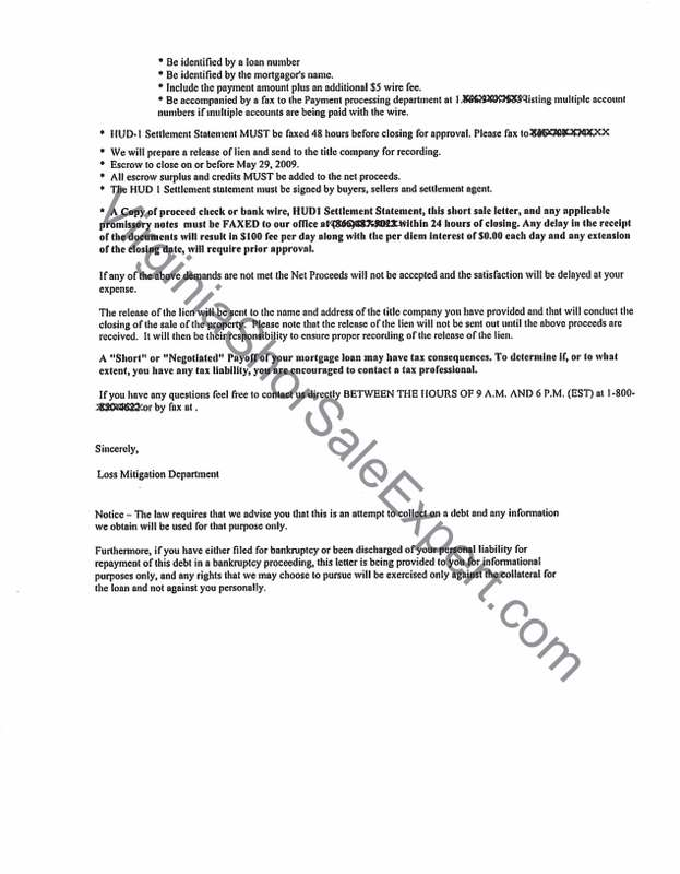 GMAC Short Sale Approval Letter