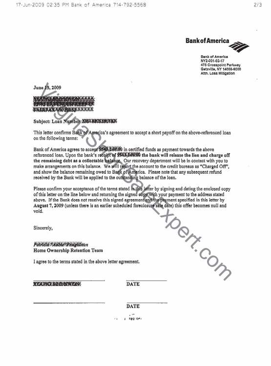 Bank Of America Short Sale Approval Letter First And Second Trust
