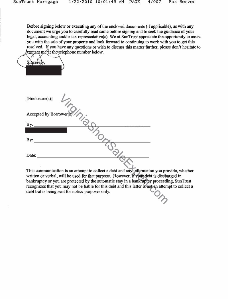 suntrust short sale demand approval letter short sale experience process