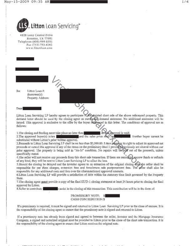 litton loan servicing short sale demand approval letter second lien