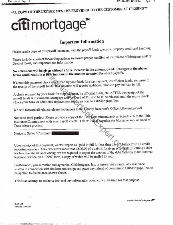 citimortgage second trust short sale approval letter success mortgage lien