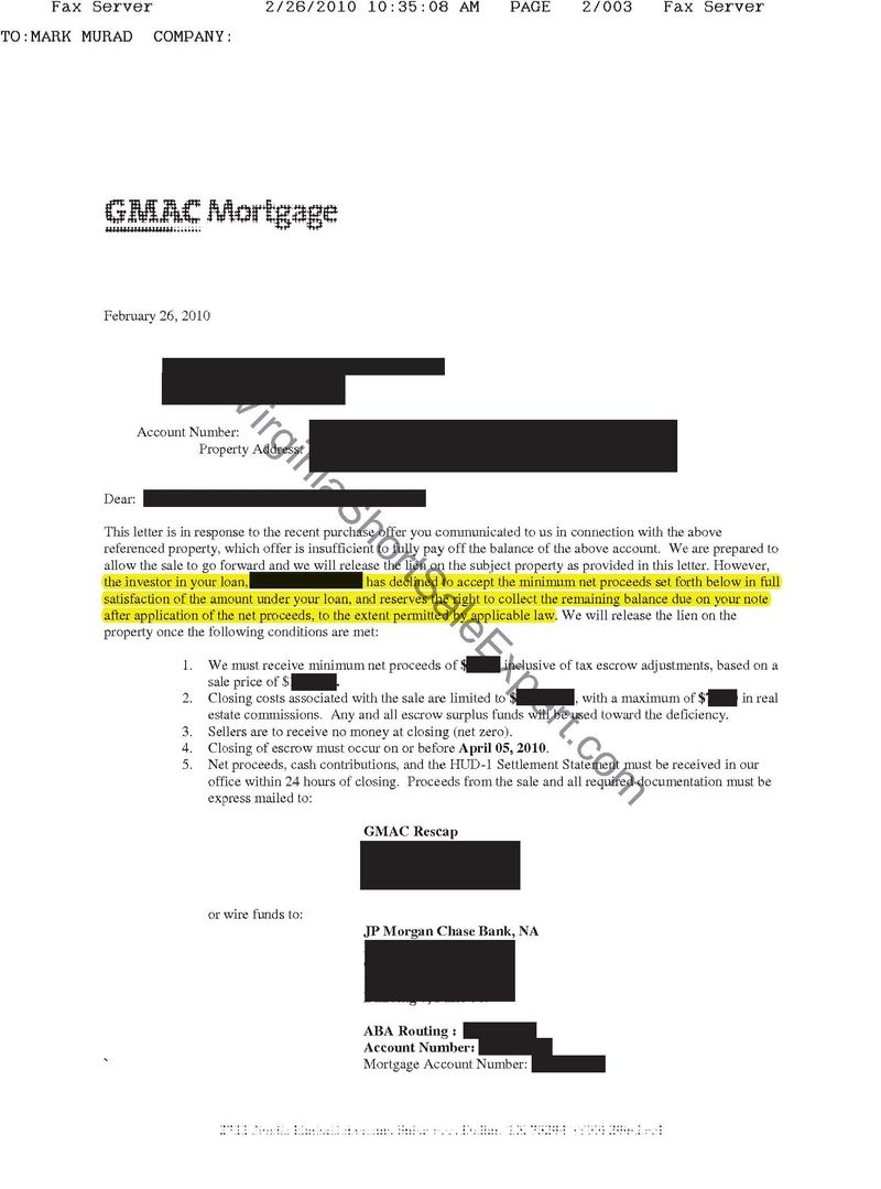 gmac second mortgage short sale approval letter lien release