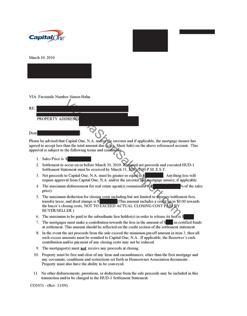 Capital One Short Sale demand Approval Letter BF Saul mortgage