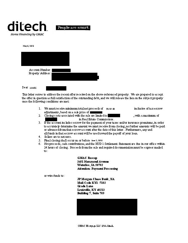 Ditech GMAC short sale approval letter second home equity trust mortgage