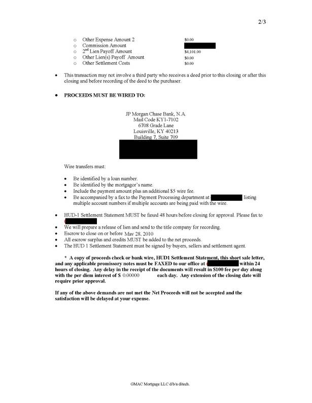 Ditech GMAC short sale approval letter first trust mortgage