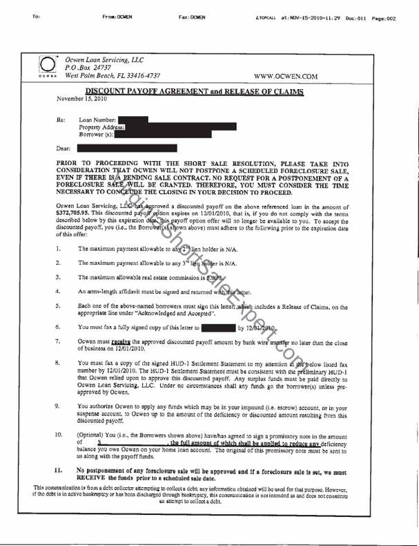 Ocwen Loan Servicing Short Sale Approval Letter