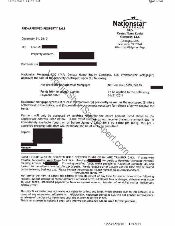 nationstar mortgage short sale approval letter
