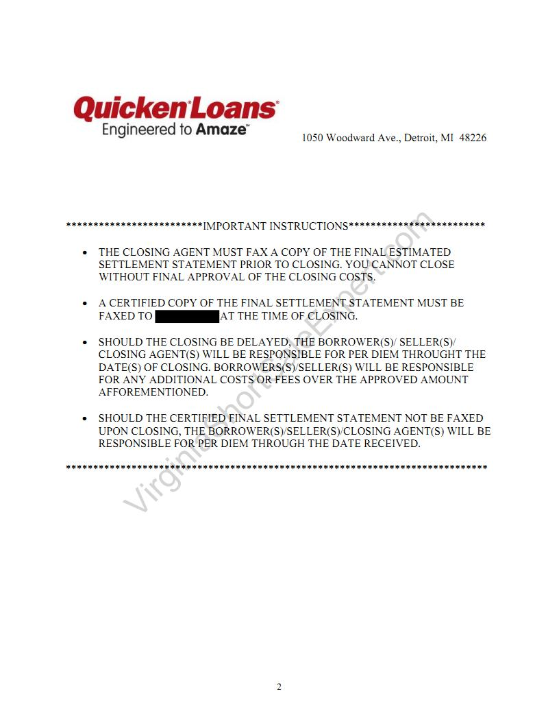 quicken loans short sale demand approval letter virginia